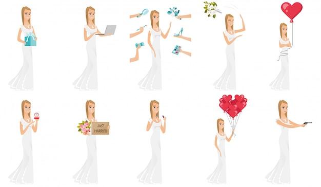 Conjunto de caráter de noiva