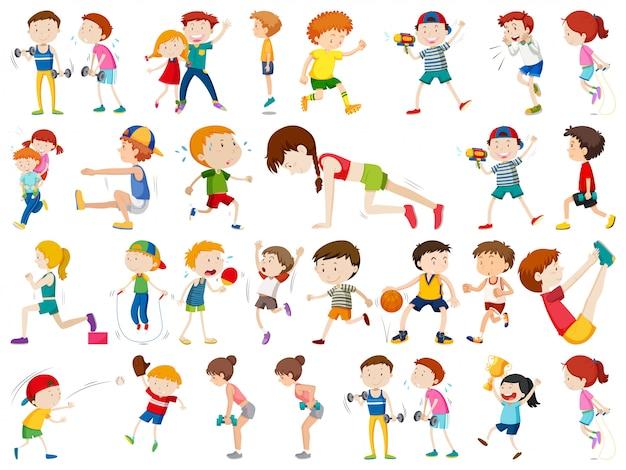 Conjunto de caráter de pessoas de exercício