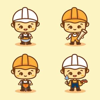 Conjunto de caráter de trabalho de pessoas construtor. desenho vetorial fofo