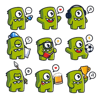 Conjunto de caráter divertido mascote de monstros