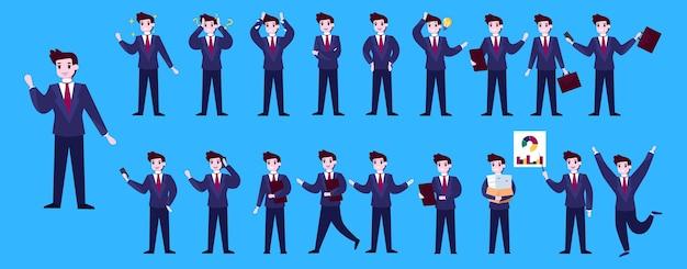 Conjunto de caráter empresário ou trabalhador de escritório com várias poses, rosto emoções e gestos. falar ao telefone, trabalhar e fazer apresentações. ilustração