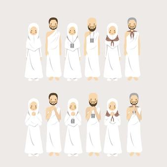 Conjunto de caráter figurativo casal muçulmano hajj e umrah como peregrinação islâmica em diferentes sinais de identificação