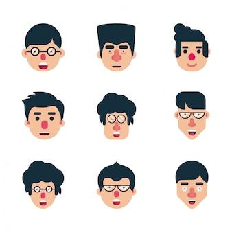 Conjunto de caráter humano plana faces vector design ícone pacote