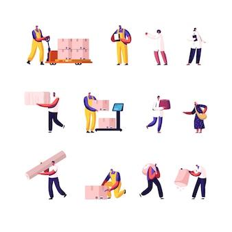 Conjunto de carga de personagens masculinos e femininos e entrega de mercadorias e profissão de transporte, coleta de algodão e produção de tecido isolado no fundo branco.
