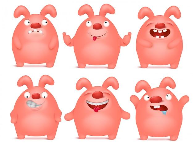 Conjunto de caricaturas de coelho rosa dos desenhos animados em diferentes emoções.