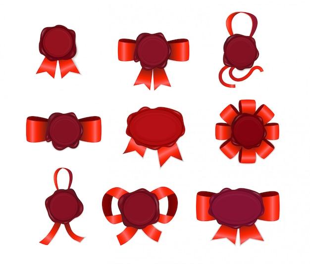 Conjunto de carimbo de vela com fitas vermelhas