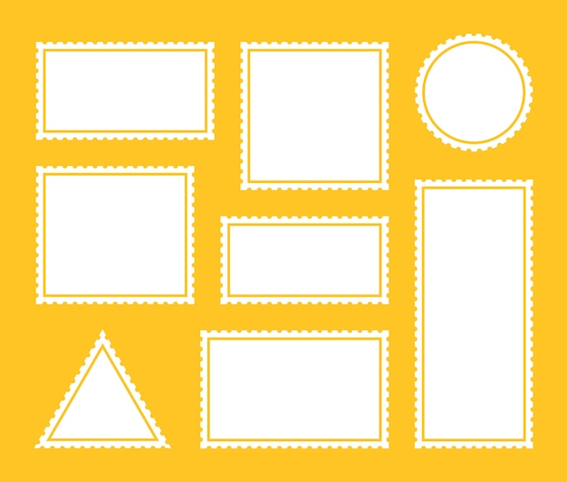 Conjunto de carimbo postal de endereçamento postal de fronteira em branco. design gráfico de vetor