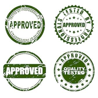 Conjunto de carimbo verde aprovado