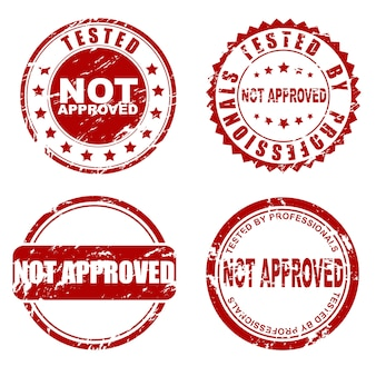 Conjunto de carimbo vermelho não aprovado