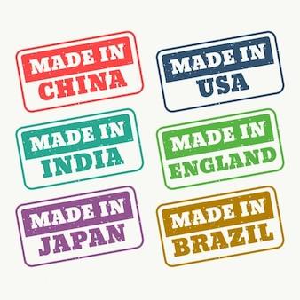 Conjunto de carimbos de borracha para made in china eua india japão inglaterra e brasil