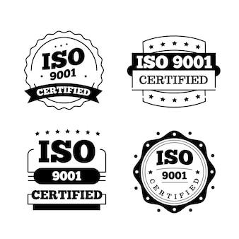 Conjunto de carimbos de certificação iso