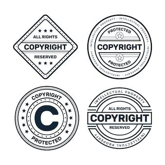 Conjunto de carimbos de direitos autorais em preto e branco