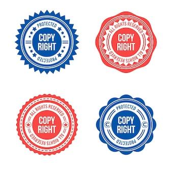 Conjunto de carimbos de direitos autorais planos
