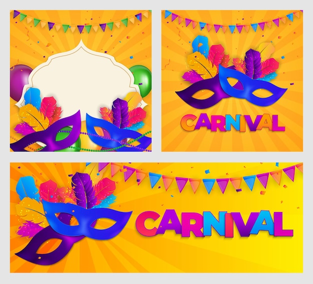 Conjunto de carnaval. máscara tradicional com penas e banners de confetes.