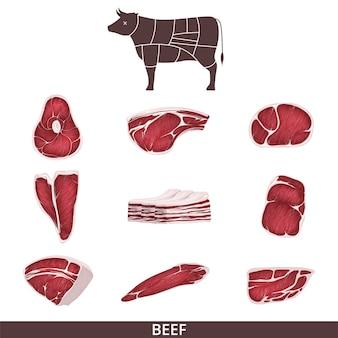 Conjunto de carne bovina e bifes, fatias e uma vaca