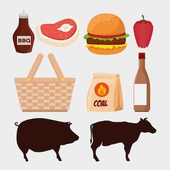 Conjunto de carne com hambúrguer e animais silhuetas