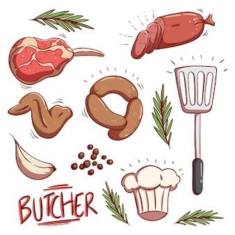 Conjunto de carne crua saborosa colorida e salsicha com estilo doodle