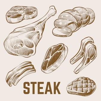 Conjunto de carne de esboço