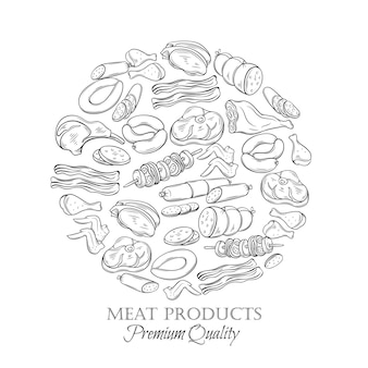 Conjunto de carne de mão desenhada ícone monocromático
