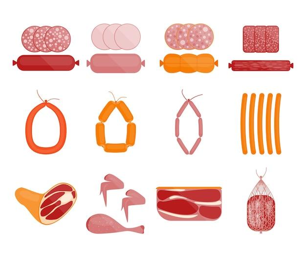 Conjunto de carne e salsicha. fatias de salame.