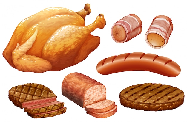 Conjunto de carne no fundo branco