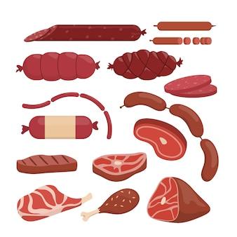 Conjunto de carne vermelha. bife e salsichas em branco.