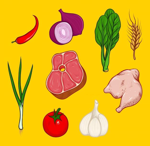 Conjunto de carnes e vegetais