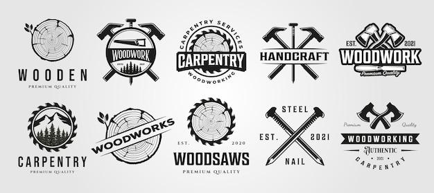 Conjunto de carpintaria marcenaria logotipo vintage artesão símbolo ilustração design