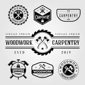 Conjunto de carpintaria marcenaria logotipo vintage artesão