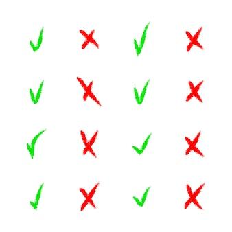 Conjunto de carrapato colorido e ícones de marca de seleção cruzada em branco