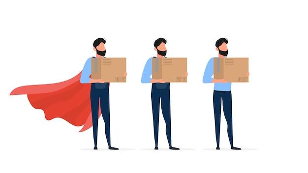 Conjunto de carregadores. um carregador de macacão segura uma caixa. o cara com a caixa nas mãos. isolado em um fundo branco. .