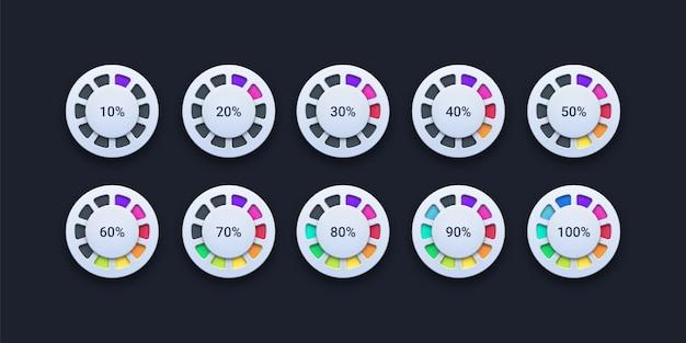 Conjunto de carregamento de porcentagem do círculo