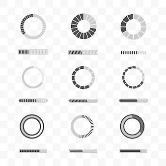 Conjunto de carregamento e modelo de ícone de barra de progresso