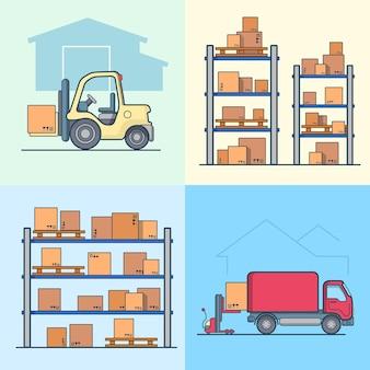 Conjunto de carrinhas de carregamento de caixas de carregadora de prateleiras de estantes de armazém