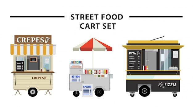 Conjunto de carrinho de comida de rua de vetor