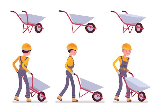 Conjunto de carrinho de mão e construtor