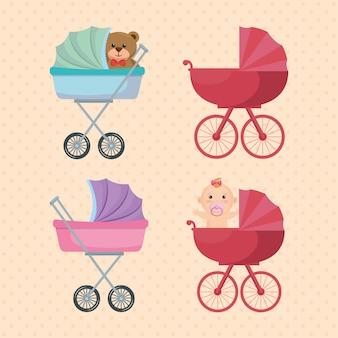Conjunto de carrinhos de bebê