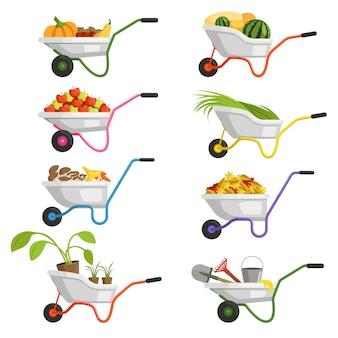 Conjunto de carrinhos de mão com diferentes frutas e legumes