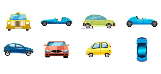 Conjunto de carro. caricatura, jogo, de, car