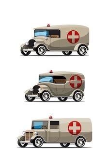 Conjunto de carro de emergência em estilo retro em branco