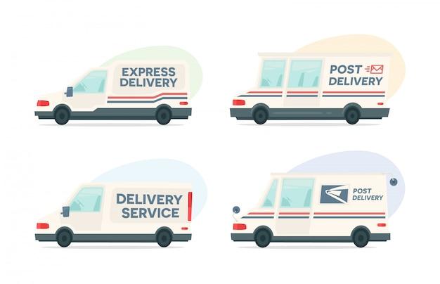Conjunto de carro de post de entrega dos desenhos animados