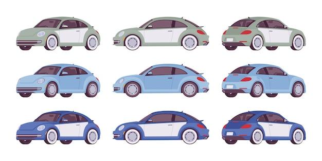 Conjunto de carro econômico nas cores cinza, azuis
