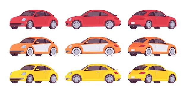 Conjunto de carro econômico nas cores vermelhos, amarelos e laranja