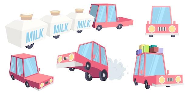 Conjunto de carro engraçado dos desenhos animados.