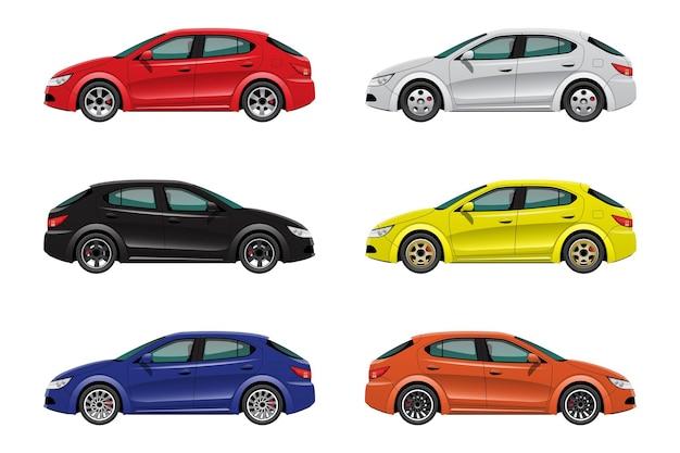 Conjunto de carro hatchback em várias cores, isolado no fundo branco.