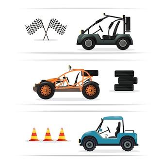 Conjunto de carro isolado de buggy de estrada
