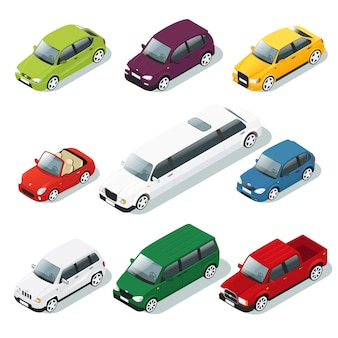 Conjunto de carro isométrico
