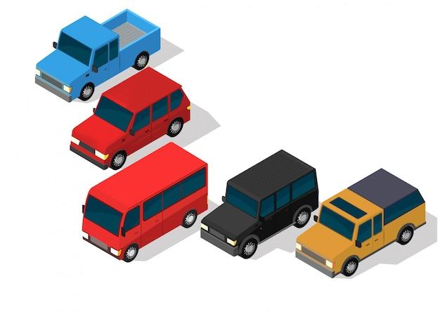 Conjunto de carro isométrico.