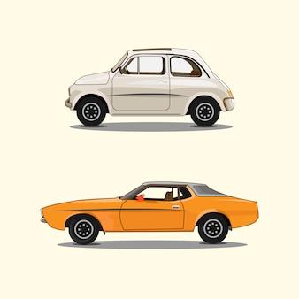 Conjunto de carro laranja branco