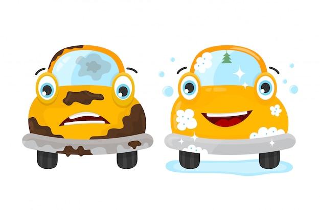 Conjunto de carro sujo e limpo